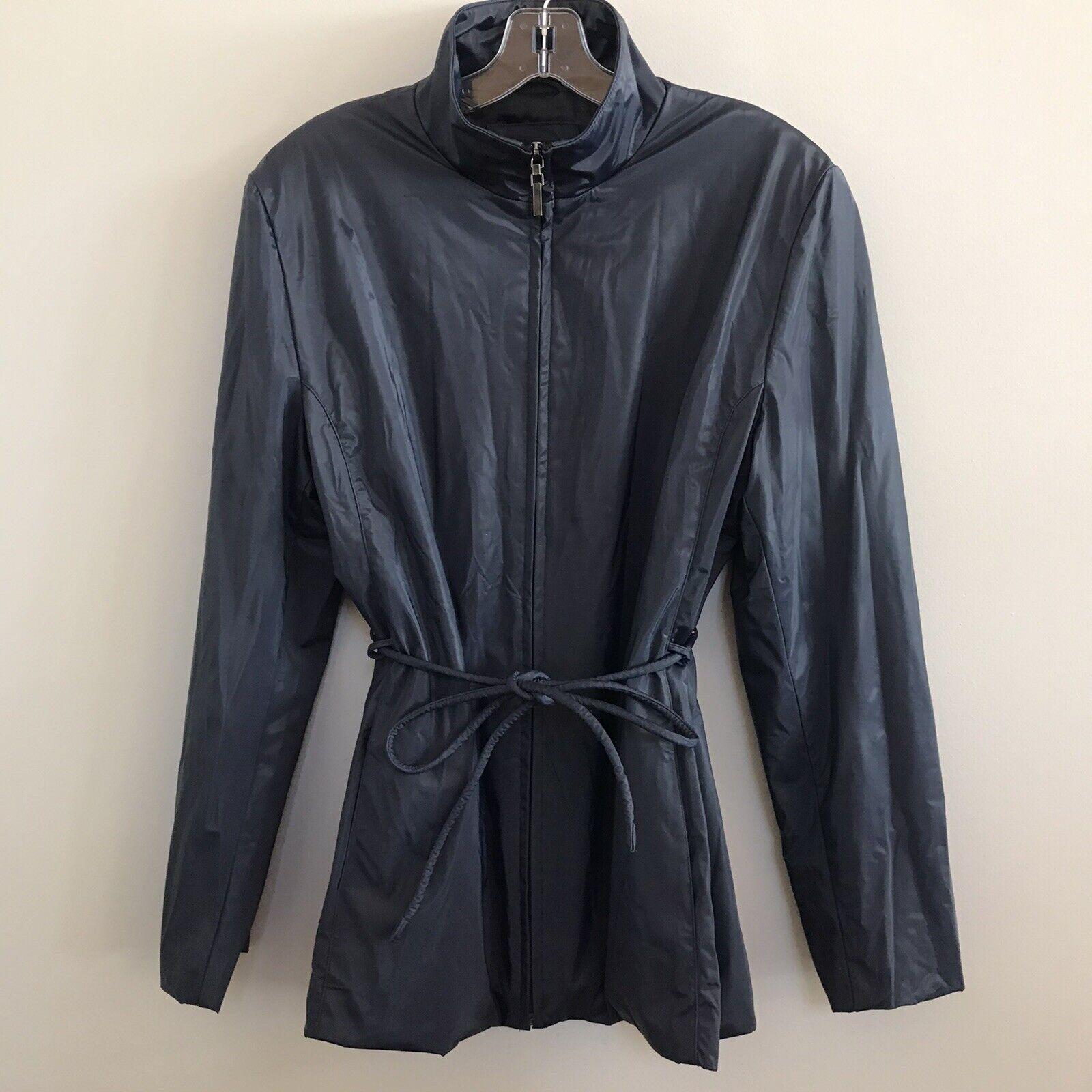 JLC New York women's size L NAVY BLUE RAINCOAT Outerwear Belt Rain Coat Jacket