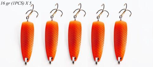 Metal Spoon Fishing Lures 5 PCS Salmon Colorful Spinners Hard Bait Treble Hook
