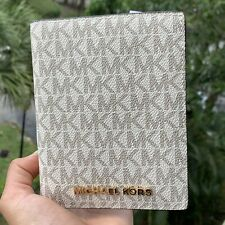 Michael Kors Jet Set Travel Passport Case Wallet MK Logo Vanilla