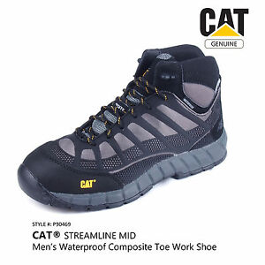 Details About Cat Streamline Mid Mens Waterproof Composite Toe Work Safety Shoe Grey P90469