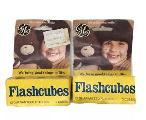 2x Vintage GE Flashcubes Original Box Set Of 6 Cubes 24 Flashes