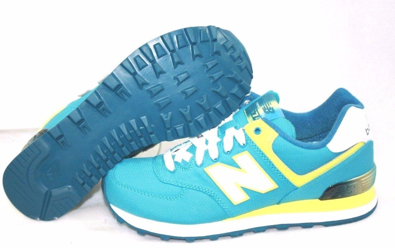 NEU Damenschuhe NEU BALANCE WL 574 APT Teal WEISS Yellow Classic Sneakers Schuhes