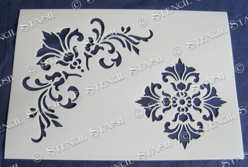 Damask STENCILS 4 sizes FB Flourish French Vintage Furniture SUPERIOR 250 MYLAR