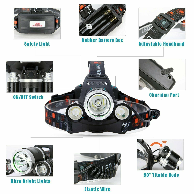 Waterproof 90000LM 3X T6 LED Headlamp Headlight Flashlight Head Torch 18650 Camp 6
