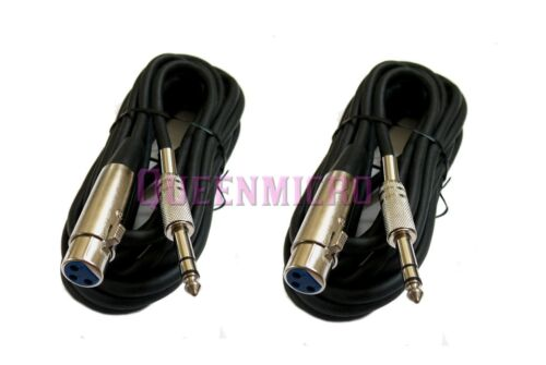 """2 x 15Ft XLR 3Pin Female to 1//4/"""" Stereo Plug Mic Microphone Balanced TRS Cable"""