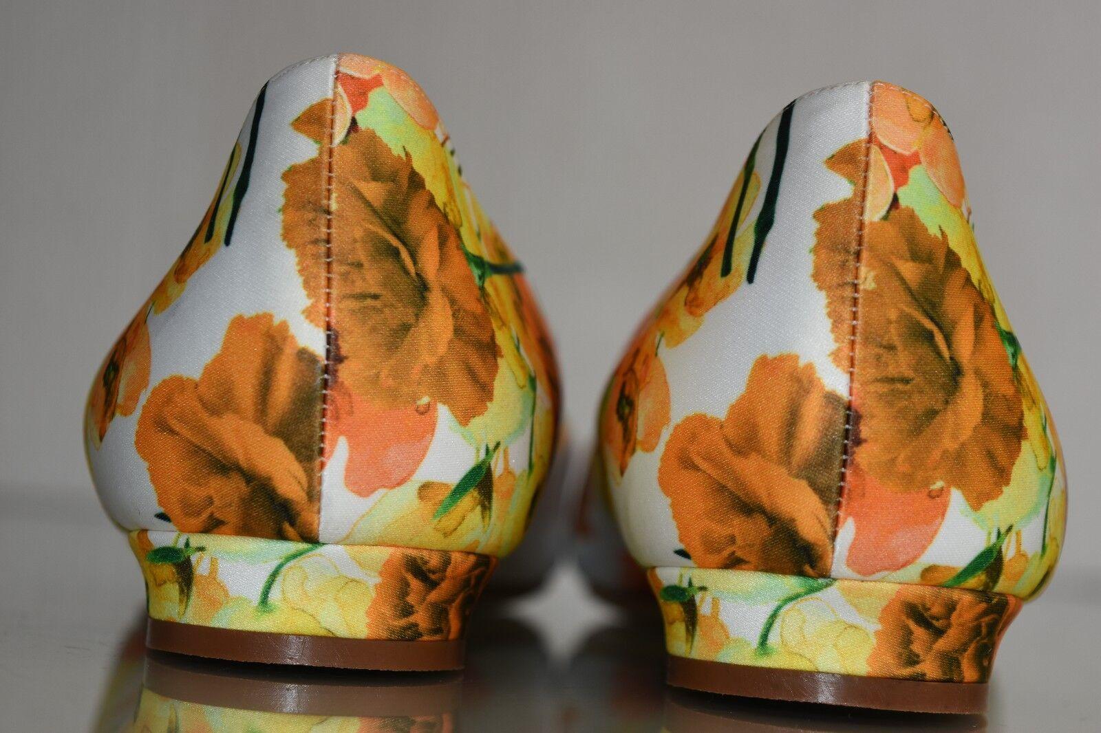 1065 NEW NEW NEW MANOLO BLAHNIK HANGISI Floral Satin JEWELED orange Flats SHOES 41.5 42 8179f6