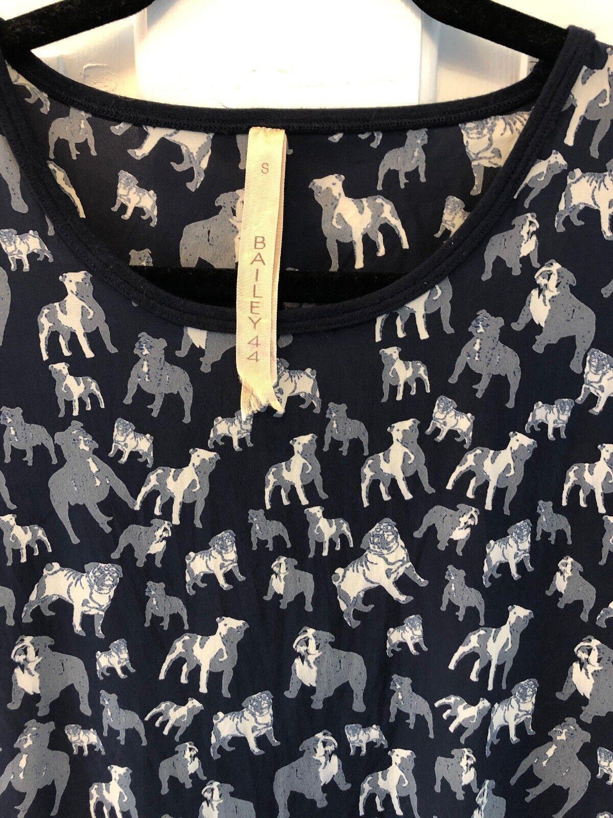 26. BAILEY 44 Epitaph to Dog Silk Bulldog Print Tee Shirt S Pug