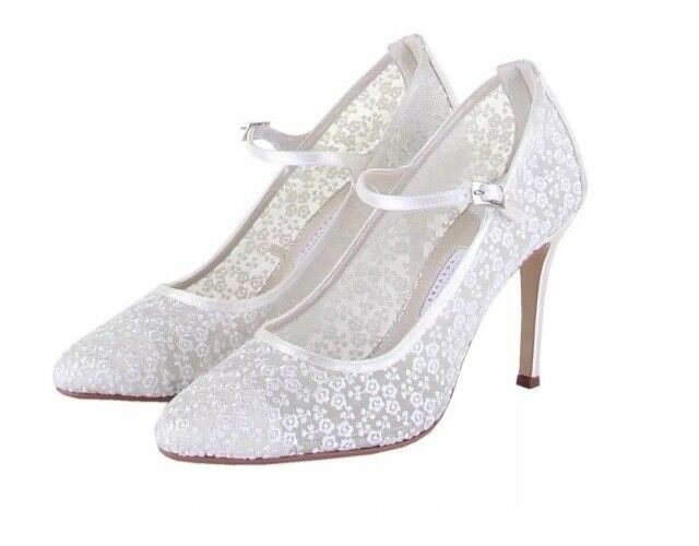 'Adora' Ivory Satin & Lace Mesh Court Wedding Shoes by Rainbow Couture Size:6/39