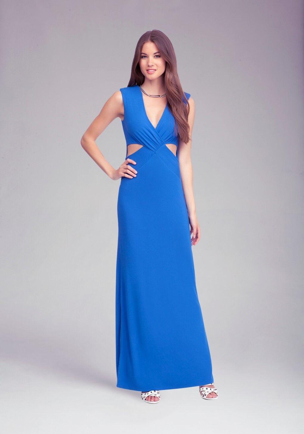 ELEGANT BEBE BRIGHT blueE CUTOUT MAXI MAXI MAXI DRESS   S   9828be