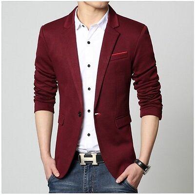 Luxury Blazer Men Spring Fashion Brand Quality Cotton Slim Fit wine red