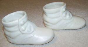 fae667f40d1e2 Details about 2 Vintage White Ceramic Baby Shoe Planter Q-Tip Holders