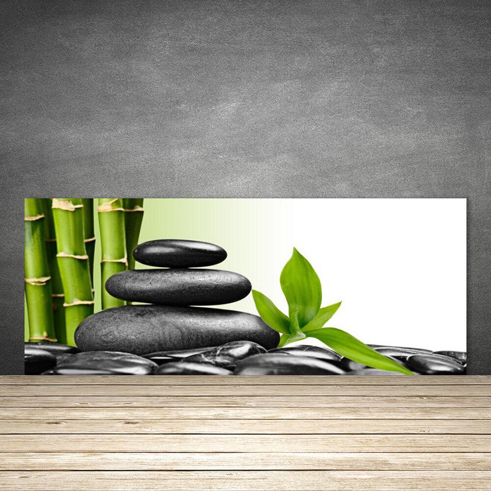 Crédence de cuisine en verre Panneau 125x50 Art Bambou Pierres