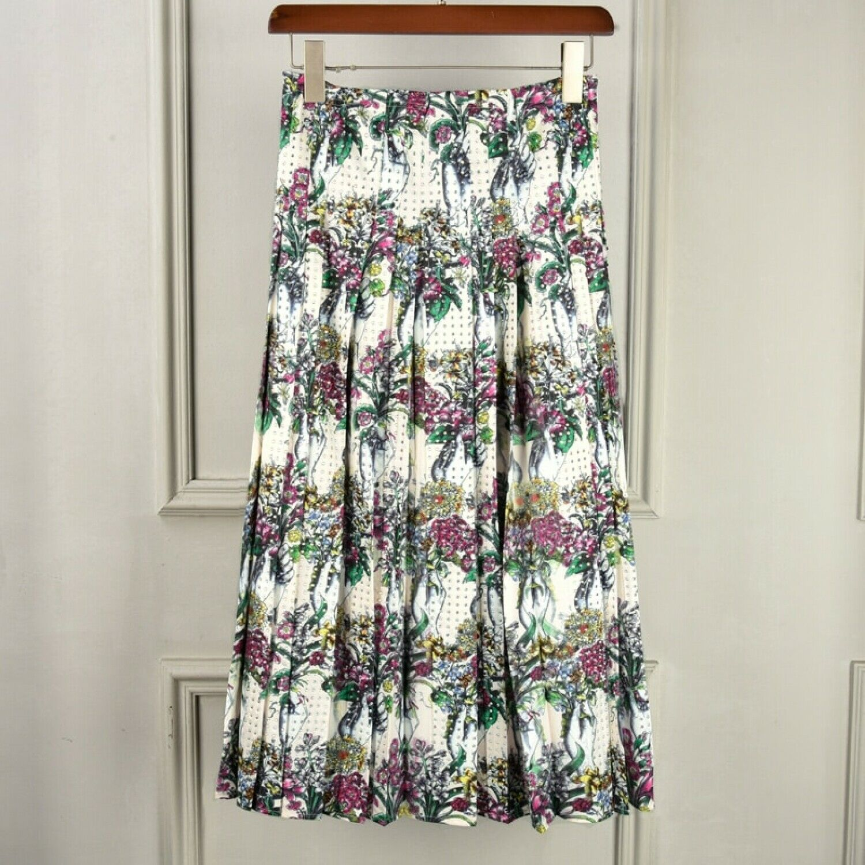 SSA Quality 2018 Runway Summer Women Flora Printed Skirt Heavy Beading High