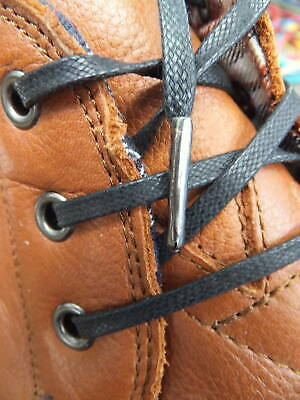 Black Flat 4mm Waxed Cotton Shoelaces brouge dress shoe trainer METAL TIPPED