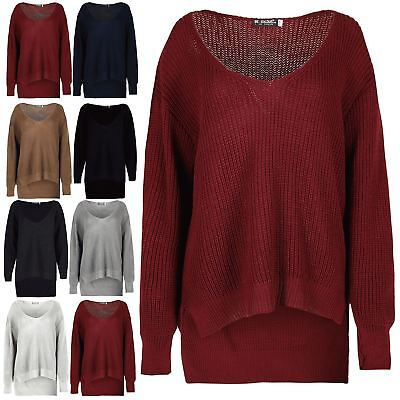 Womens High Low Top Ladies Baggy Dip Hem Button Polo Cowl Neck Oversized Jumper