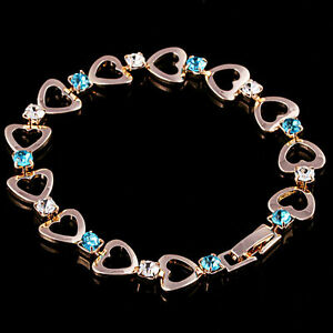 10K-Rose-Gold-Filled-GF-CZ-Aquamarine-Heart-Chain-Bracelet-19cm-Long-10mm-W