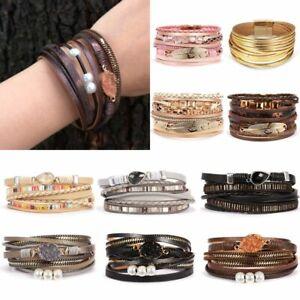 Women-Handmade-Leaf-Crystal-Multilayer-Leather-Bangle-Magnetic-Clasp-Bracelet