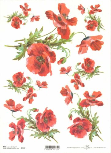 Papel De Arroz Para Decoupage Scrapbooking Poppy Red Flores A4 ITD R957