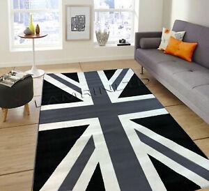 Details About Super Quality Black White Union Jack Flag Print Rug London Carpet