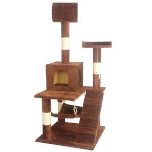 Brown 55 cat tree tower condo scratcher furniture kitten house hammock 90 ebay - Cat hammock scratcher ...