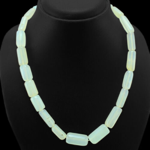 Authentique Excellent AAA 412.00 cts Blanc Naturel Onyx Perles Collier Paypal $ $ $