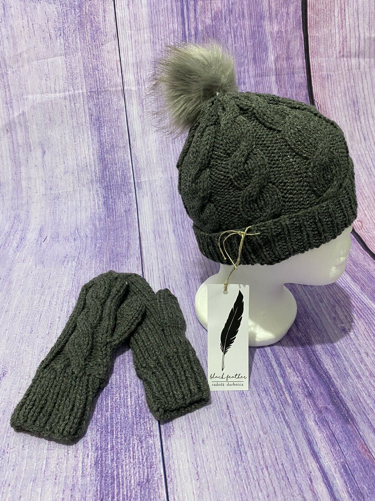 100% Hand Made Knitted Mittens Gloves And Hat With Bubble Grey