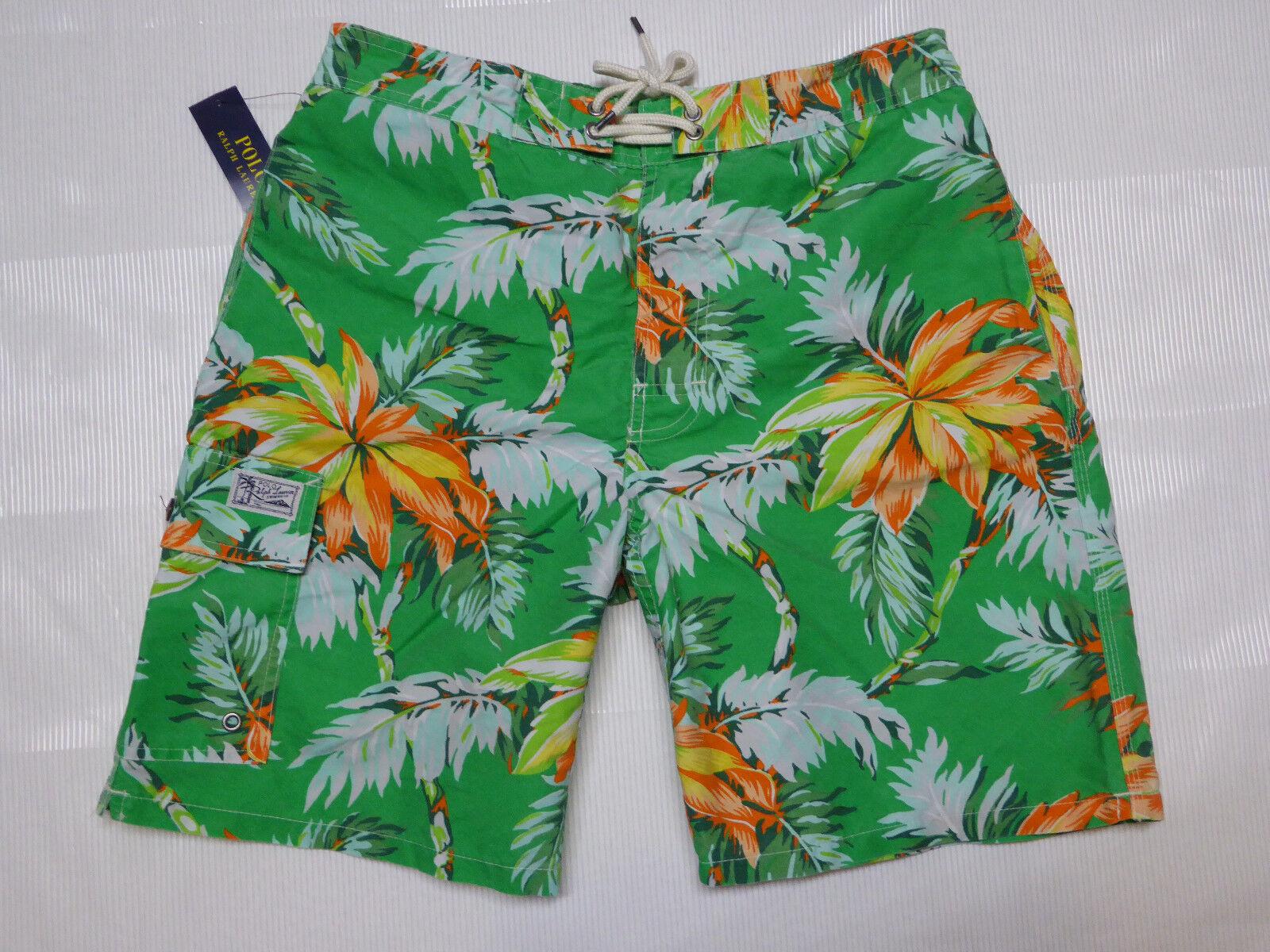 02af29823e Polo RALPH LAUREN Maine Green Palm Swim Shorts Trunks LG MD Tropical Flowers
