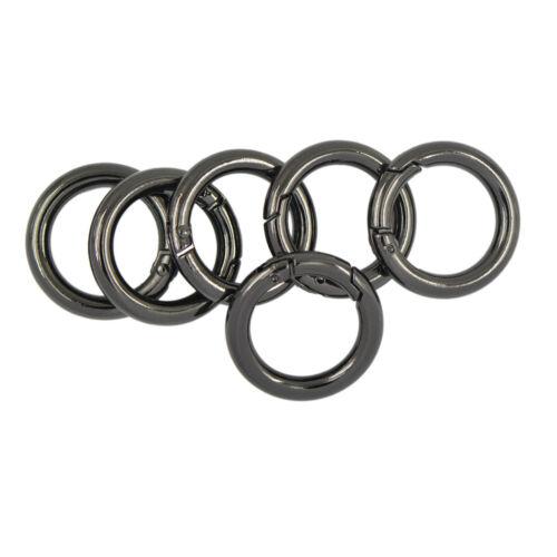 6pcs Circle Round Carabiner Spring Snap Hook Keychain Ring Alloy 25mm Black