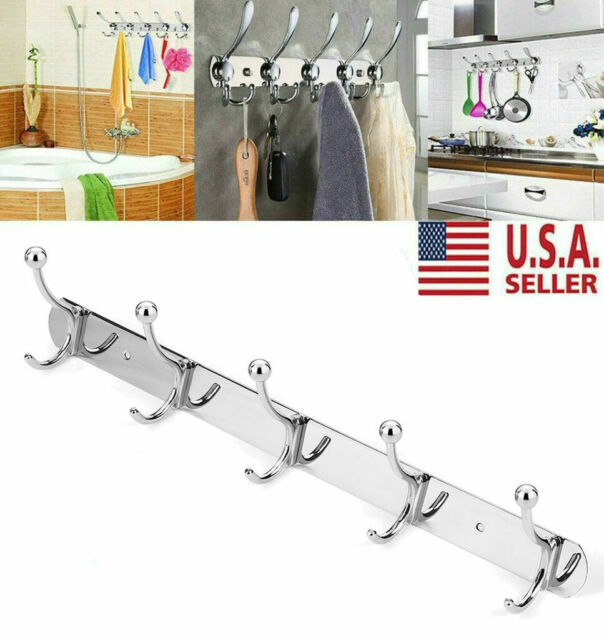 5 Hooks Stainless Steel Coat Robe Hat Clothes Wall Mount Hanger Towel Rack USA