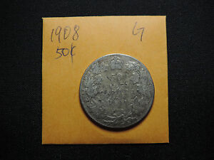 1908 50 CENT COIN CANADA KING EDWARD VII FIFTY CENTS .925 SILVER G CONDITION