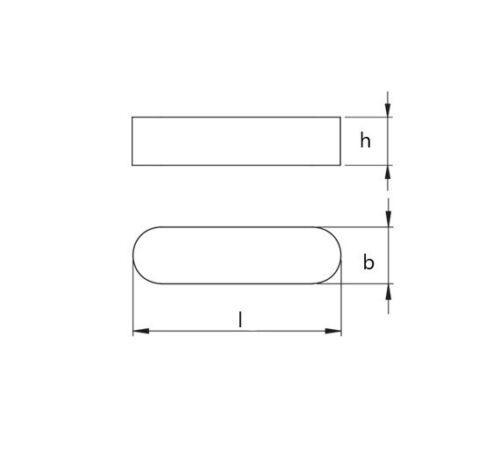10 Stück Passfedern DIN 6885 EDELSTAHL 1.4571 Form A 5X5X25