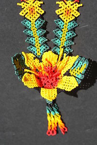 Huichol flower necklace mexican native spiritual nierika for Mexican arts and crafts for sale