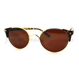 High-Fashion-Sunglasses-Womens-Round-Side-Horn-Rim-Unique-Frame