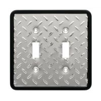 135861 Diamond Plate Double Switch Cover Plate