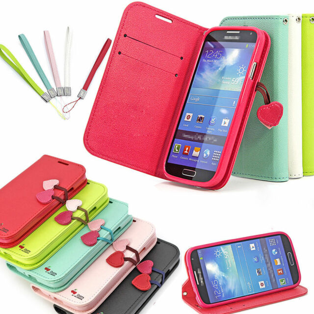 NEW CHERRY LEATHER FLIP STAND WALLET CARD CASE COVER FOR SAMSUNG GALAXY MODELS