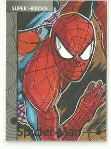 Upper-Deck-Fleer-Marvel-Retro-Spider-Man-Base-Sketch-Card-by-Elvin-Hernandez