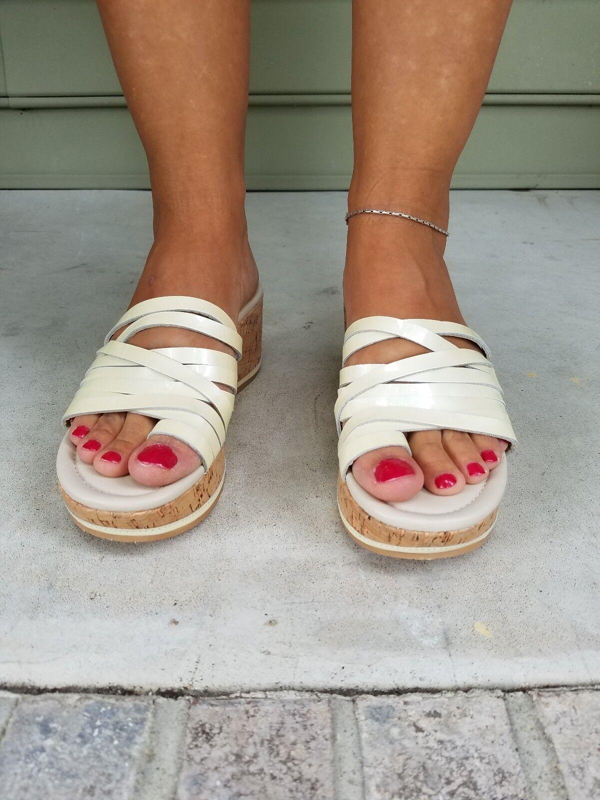 Donald J. Pliner Sheena 2 2 2 Crema Correa Corcho Cuña Sandalias Zapatos Metálico 7.5 M  punto de venta de la marca