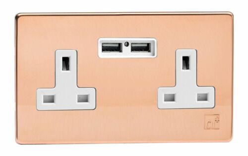 Varilight XDY5U2WS.AC Antimicrobial Copper 2 Gang 13A Unswitched Socket 2.1A USB