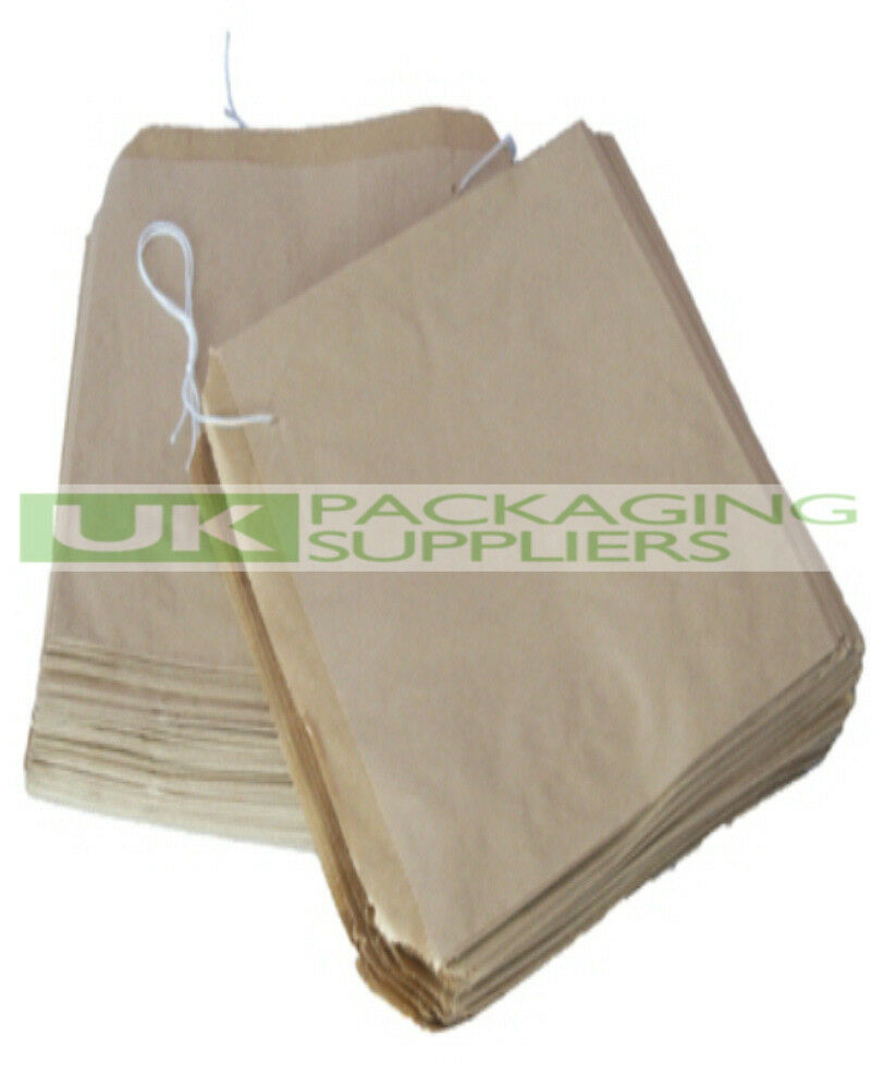 5000 LARGE BROWN KRAFT PAPER STRUNG BAGS SIZE 12.5 x 12.5  FOOD FRUIT - NEW