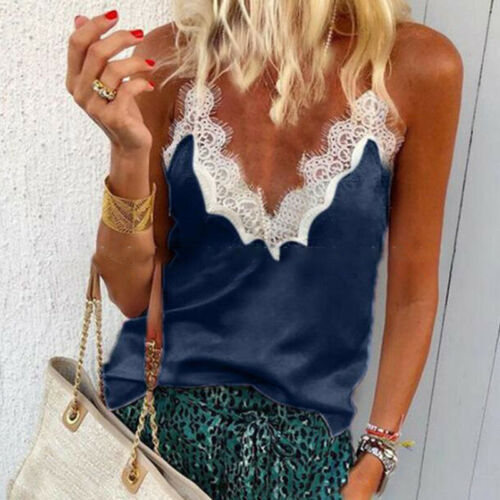 Damen V-Ausschnitt Tanktop Trägertop Vest Tunika T-Shirt Freizeit Sommer Blusen