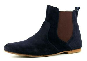 bottines plates daim bleu