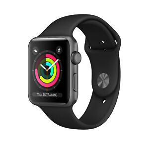 Apple-Watch-3-42mm-GPS-Aluminium-Spacegrau-Sportarmband-Schwarz-NEU