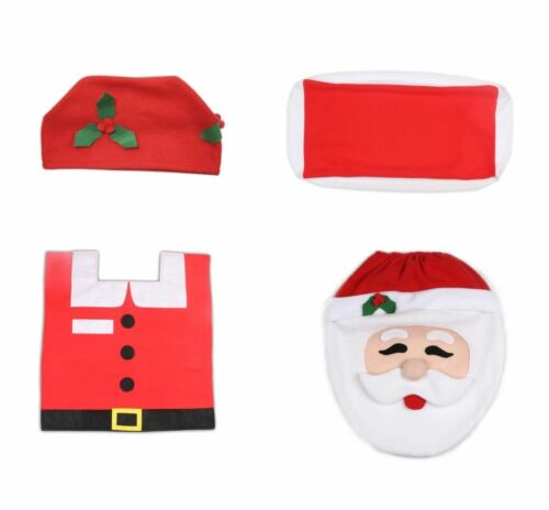 4 Pcs Fashion Christmas Santa Decoration Toilet Seat Covers Bathroom Rug Mat Set