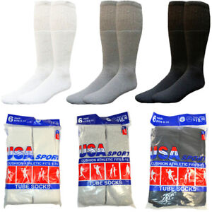 Mens-3-12-Paris-Cotton-Athletic-First-Quality-Solid-Sports-Tube-Socks-Size-9-15