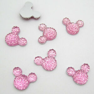 New-40pcs-14MM-Resin-Mouse-Flat-back-Scrapbooking-For-DIY-craft-making-Pink-2