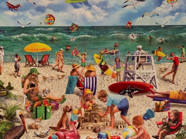 "Preowned White Mountain 1000 Larger Piece Puzzle ""Beach Day"" By Mary Thompson"