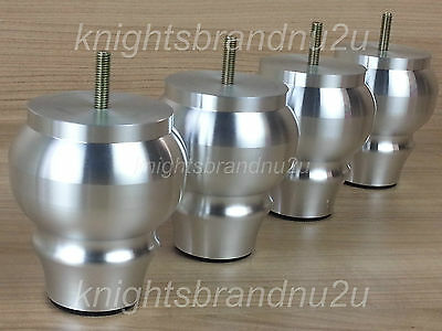 4x BRUSHED CHROME FURNITURE FEET/LEGS - FOR SOFA, BEDS, CHAIRS, SETTEES M8(8mm)
