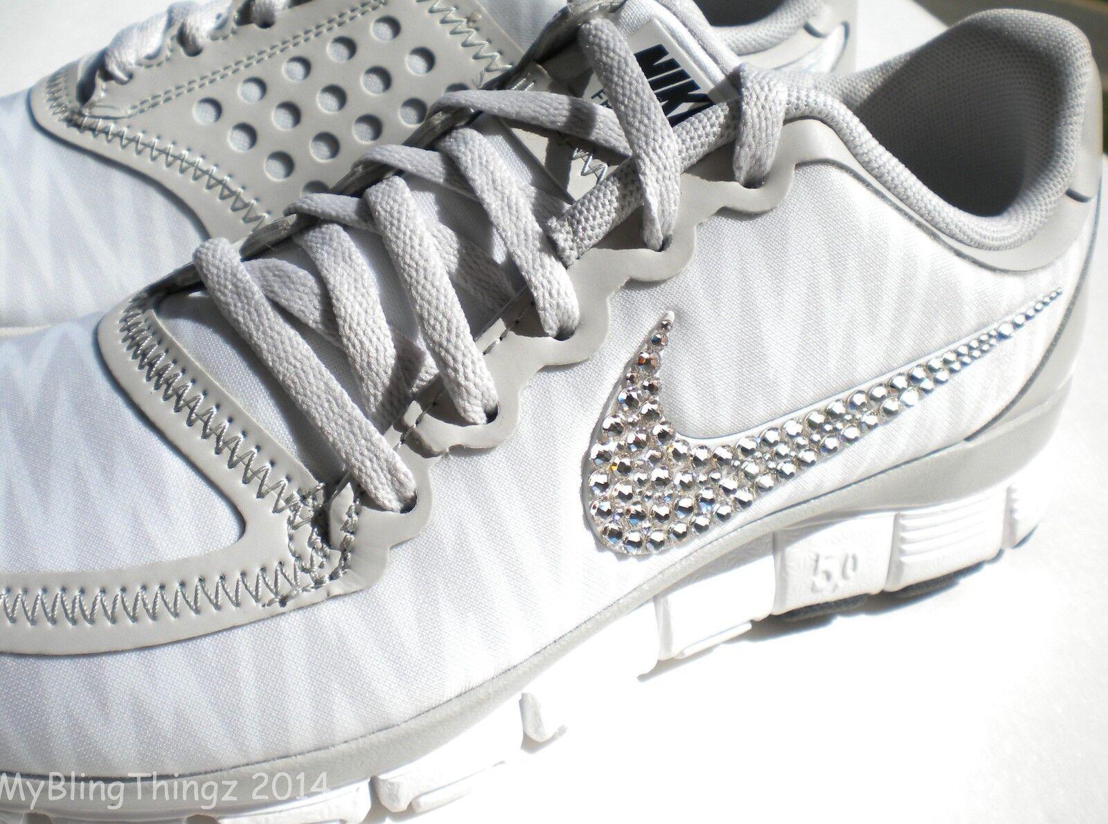 BLING Nike Free 5.0 V4 w  Swarovski Crystal Swoosh Detail WHITE GREY ZEBRA Print