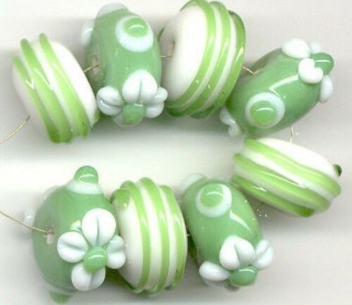 8pcs Lampwork Glass Beads Handmade Opaque Green White Flower Rondelle Spacer