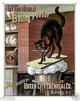 Vintage International Baking Powder Black Cat Ad Fine Art Print / Poster